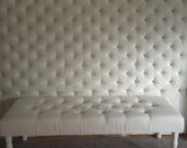 Extra-Wide King Crystal Diamond Tufted Headboard and Bench Set in White Velvet (Wide King, Extra Tall)