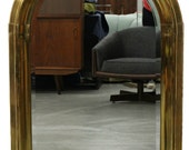 Art Deco Mid Century Vintage Arched Brass Mirror Made in Spain by La Barge
