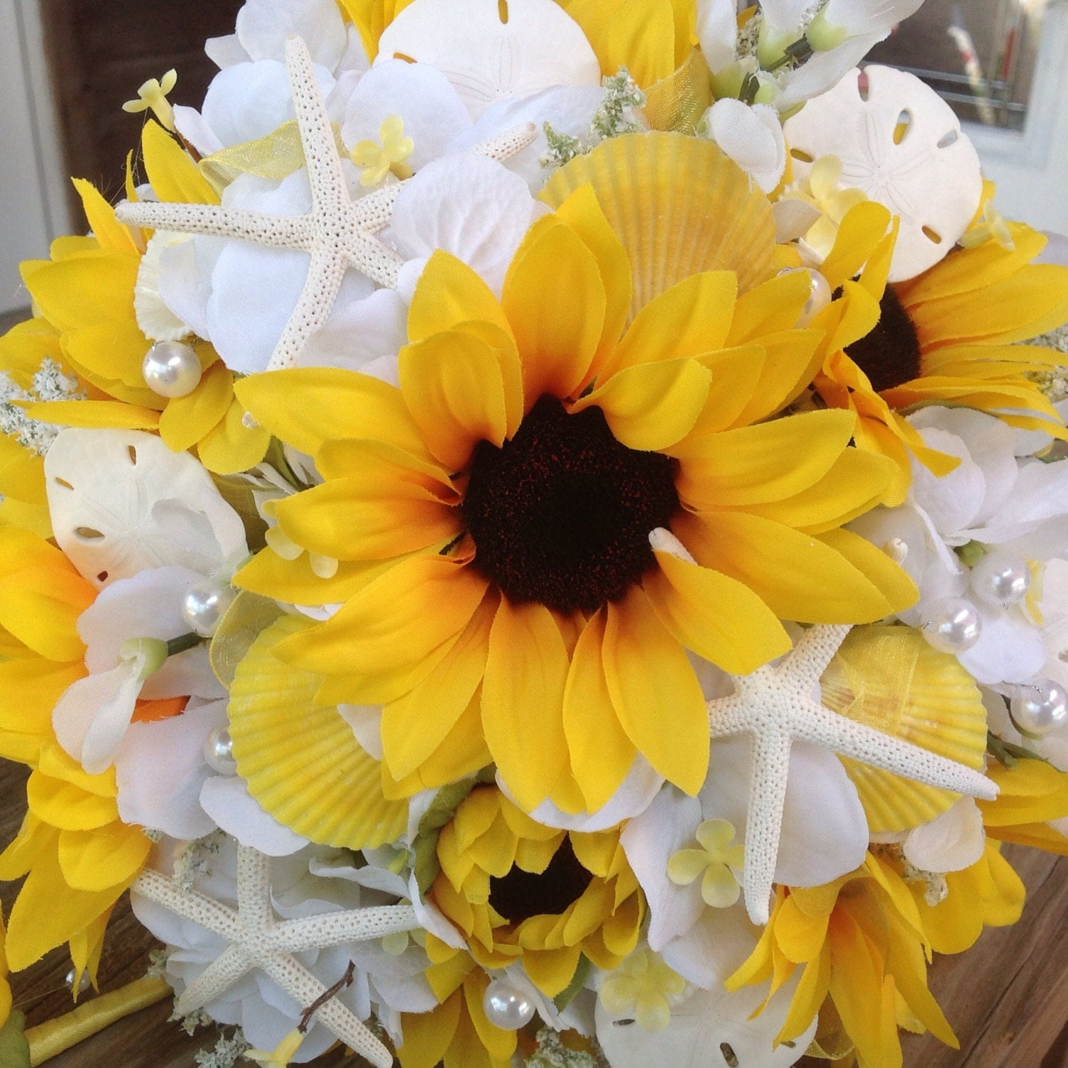 Wedding White Hydrangea: Sunflower Beach Wedding Bouquet With White By