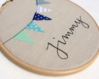 Baby Name - Nursery Decor - Hoop Art - Bunting and calligraphy script handsewn on linen