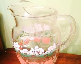 Vintage Pitcher Wildrose Floral Design Glass Pitcher