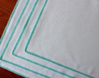 Vintage Linen Four Placemats White Turquoise Aqua Crochet Handmade Plus