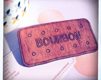 Bourbon Biscuit Handpainted Large Wooden Brooch