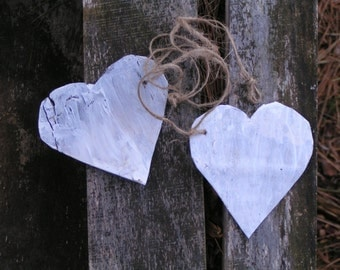 Rustic Painted Heart Gift Tags made from Birchbark****Can also be Wedding Table Name Tags or tied around Dinner Napkins****Simply Charming