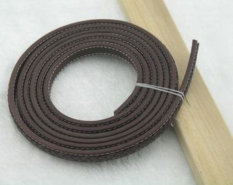 20cm/8'' Brown11.3x5.0mm Soft Flat Real Leather Cord, Stitched with Braided Leather Cord