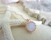 Druzy Necklace, Rose Gold Necklace, 18K Rose Gold Vermeil Crown Bezel Pendant Necklace 12mm, Pink Gold Jewelry Gifts For Her, Druzy Jewelry