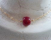 Gold Ruby Necklace, July Birthstone Necklace,Gifts for Best Friends, Solitaire Necklace, Red Jewelry, Gold Filled, Layering Necklace