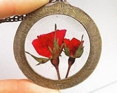 Two Red Roses Preserved in Clear Resin, Enclosed in Antique Bronze Large Round Frame Pendant, Choice of necklace chain length