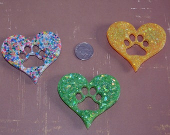 Resin Paw Print Heart