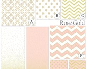 Custom Baby Crib Bedding Set - Fitted Sheet, Custom Bumper, Crib Skirt- Rose Gold