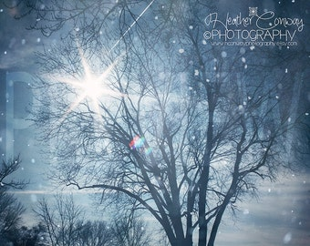 Christmas -Winter Scene, Blue Nursery Art Pastel Sky Falling Snow Bokeh Pearl White Clouds Dreamy Twinkle Star burst -Fine Art Photography