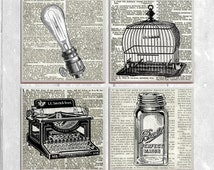 Vintage Objects - 4-pc. Ceramic Tile Coasters - Edison Light Bulb Birdcage Typewriter Mason Jar Set No. 1