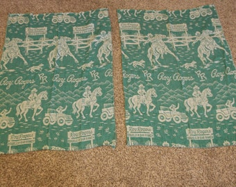 Vintage Roy Rogers Curtain Panels,Double R Bar Ranch, Set of 2