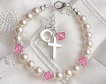 Baptism Bracelet-Baby Cross Bracelet-Pearl Bracelets-Childrens Jewelry-Christening-Personalized