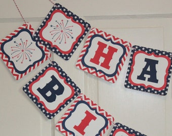 FOURTH OF JULY 4th Themed Party Happy Birthday or Baby Shower Banner Red White Blue-Party Packs Available