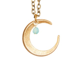 Vintage Brass Crescent Moon Necklace with Sky Blue Glass Bead