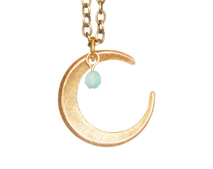 Vintage Brass Crescent Moon with Sky Blue Glass Bead