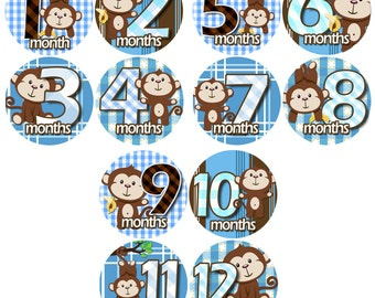 Monthly Baby Stickers - Baby monthly stickers 1 to 12 months - month to month baby stickers - Bodysuit Romper Stickers - CUDDLE MONKEYS
