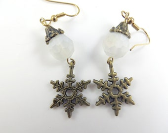 White and gold snowflake earrings