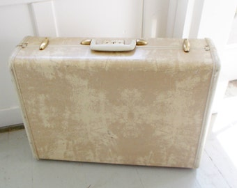 Vintage Samsonite Suitcase Streamlite Wardrobe Luggage Marbelized Ivory Hard Case 1950's