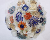 RESERVED for YANIRA: Silk Coral, Navy, Orange, Champagne, Cream BROOCH Bouquet, 8.5 inch round bouquet