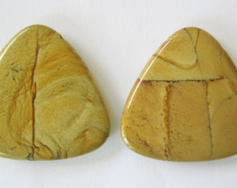 2 Triangle Focal Pendant Beads American Picture Jasper 40 MM 1 Pair Sale