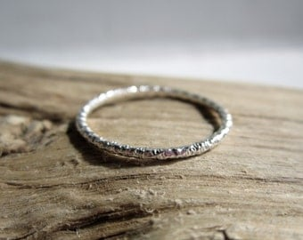 Silver Faceted Thin Ring - Sterling Silver Stacking Ring