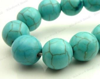 10mm Turquoise Blue Magnesite Matrix Gemstone Beads - 15.5 Inch Strand - Round, Opaque, Brown Veining - BE12