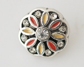 1 PC - 12MM Yellow Flower Enamel Silver Charm for Candy Snap Jewelry KB6627 CC0599