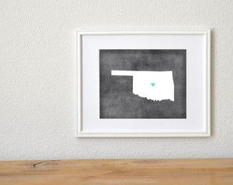 Oklahoma Chalkboard State Map Customizable Art Print.