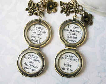 Mother daughter Necklace Locket  inspirational quote I'll love you forever I'll like you for always womens locket jewelry