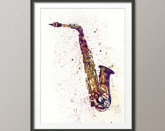 Saxophone, Abstract Watercolor Music Instrument Art Print (1998)