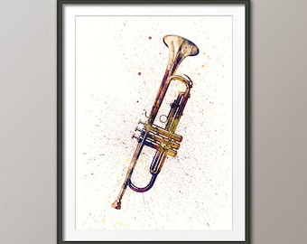 Trumpet, Abstract Watercolor Music Instrument Art Print (2000)