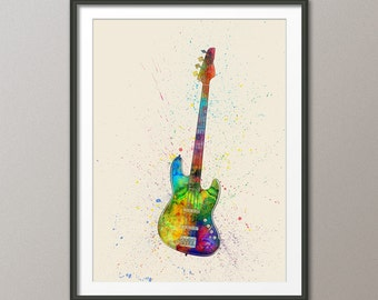 Electric Bass Guitar, Abstract Watercolor Music Instrument Art Print (2001)