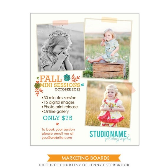 INSTANT DOWNLOAD - Marketing board - Newsletter  template Fall Mini sessions- E497-10