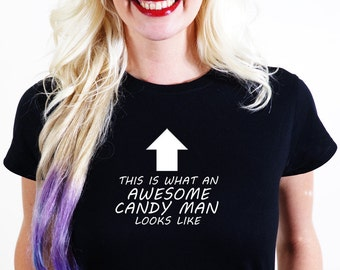 AWESOME CANDY man T-SHIRT Official Personalised This is What Looks Like sweets toffees candy sugar lolly