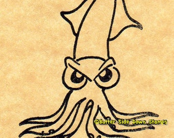 Angry Squid Rubber Stamp Humboldt Squid