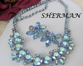 Sherman Necklace Set Blue Rhinestone Signed