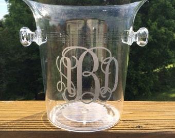 Custom Personalized Monogrammed Acrylic Ice Bucket