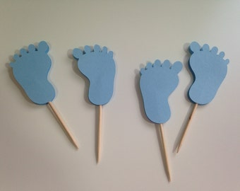 Set of 12 BLUE BABY FEET Food/Party Picks - Baby Shower/New Baby - Boy - Favors/Decorations