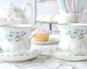 Pair of pretty little Richmond Blue Rock cups and saucers: 2 demitasses/coffee cups and saucers with lovely little blue flowers