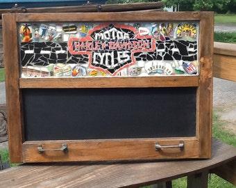 "Motorcycle chalkboard 28"" x 18"""