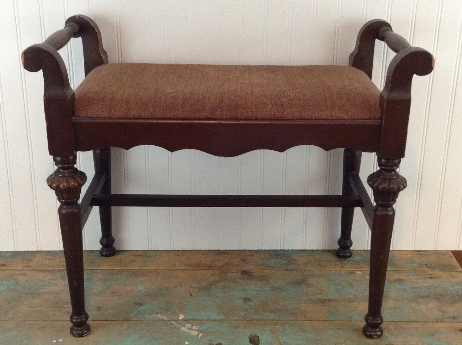 vintage vanity bench brown fabric seat vanity stool 87968