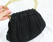 Vintage Crocheted Purse Handbag- Black with Gold Glittered Plastic Snap Together Handle- Hard Bottom- Hand Made- Small Purse