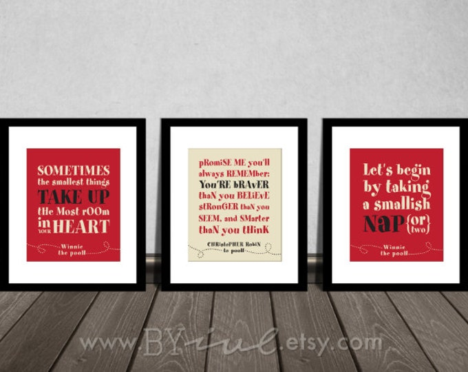 Winnie the Pooh quotes, You are BRAVER than you believe, Nap time, Baby boy, Red Ivory black, Nursery prints. DIY Printable.
