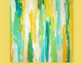 ORIGINAL Abstract Painting Original Large Art Textured Fine Art on Gallery Canvas by Ora Birenbaum Titled: SPRING GREEN 2 36x36x1.5