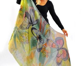 Hand painted silk shawl/Butterflies/Hand Pinted silk scarf/Woman shawl/Luxury long scarf/Woman  shawl/Woman accessory/Painted by hand/H0200