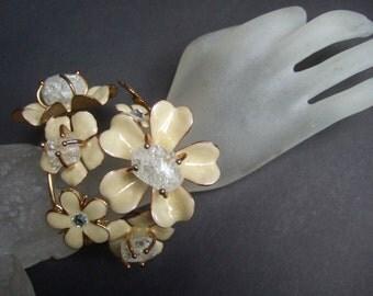 Massive Dramatic Enamel Flower Cuff Bracelet c 1980s