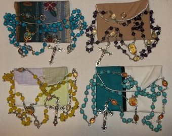 Turquoise, purple, green or yellow Rosary, picture rosary, Baptism, 1st communion Rosary w/pouch