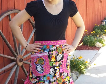 Half Apron with sugar skulls and flowers pink and black Day of the Dead Los Novios fabric pin up retro matching Head Scarf